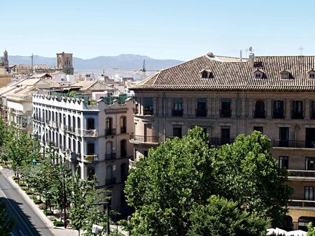 buildings and perspective of the Gran Via Granada , Spain