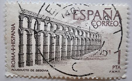 postage stamp, aqueduct of Segovia, Spain, 1pta