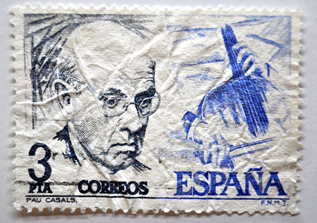 postage stamp, Spain, Pau Casals, Editorial
