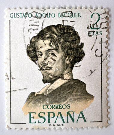 postage stamp, Gustavo Adolfo Becquer, Spain 1970 Editorial