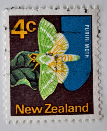 postage: postage stamp, butterfly, Puriri, New Zealand