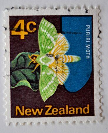 timbre postal: sello de correos, mariposa, puriri, Nueva Zelanda