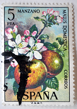postage stamp: sello de correos, España, manzanas