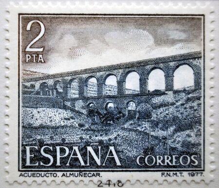 郵便切手、スペイン、水道橋の歴史的建造物、アジュムネカル