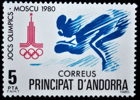 postage: postage stamp. Andorra, 1980 Editorial