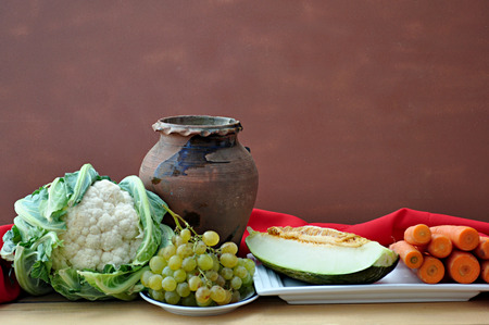 vegetables and clay pot Stock Photo