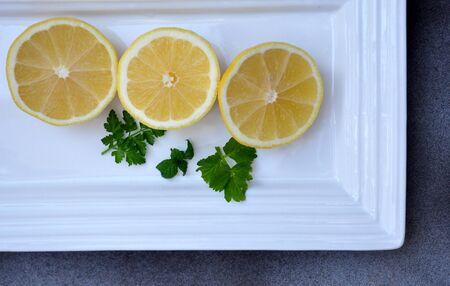 lemon slices on tray Stock Photo