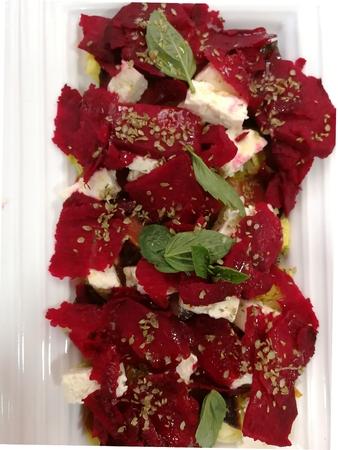 Salad with beet, feta and dry tuna