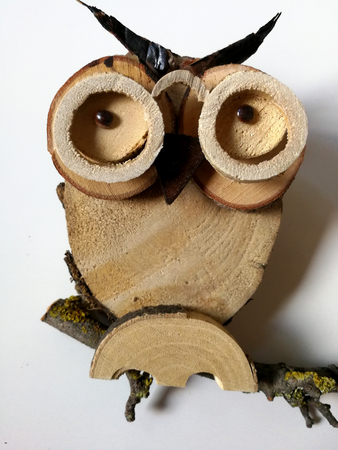 Wooden owl with glasses