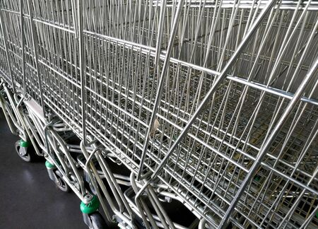Supermarket trolleys Stock Photo