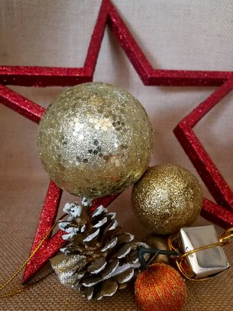 Xmas card with red five-pointed star