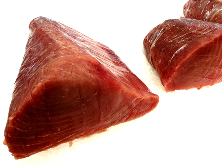 fresh loins of tuna red at market