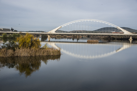 Lusitania bridge over Guadiana river in Merida Spain Stock Photo
