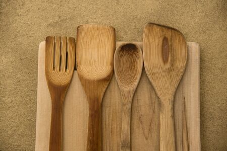kitchen tooling in bamboo wood