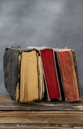 old and antique books with colored block