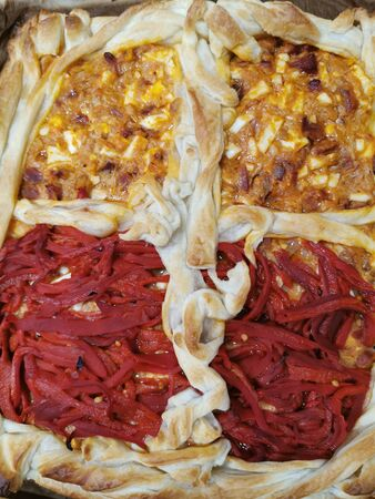 Puff pastry pie with peppers and stuffed tuna peppers Stok Fotoğraf