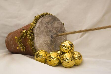 Spanish popular instrument used at Christmas: zambomba Stok Fotoğraf - 131835990