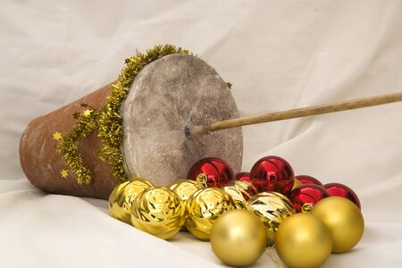 Spanish popular instrument used at Christmas: zambomba Stok Fotoğraf - 131835988