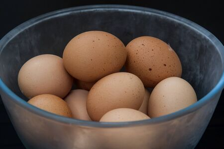 fresh eggs in a refrigerated bowl