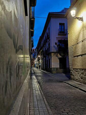 deserted old street at sunrise