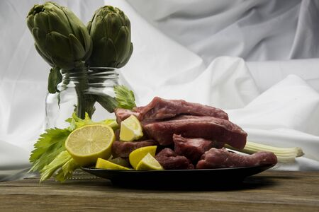 pork ribs in a tray on an abstract background Zdjęcie Seryjne