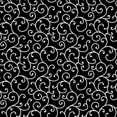 Black and White allover seamless scroll design