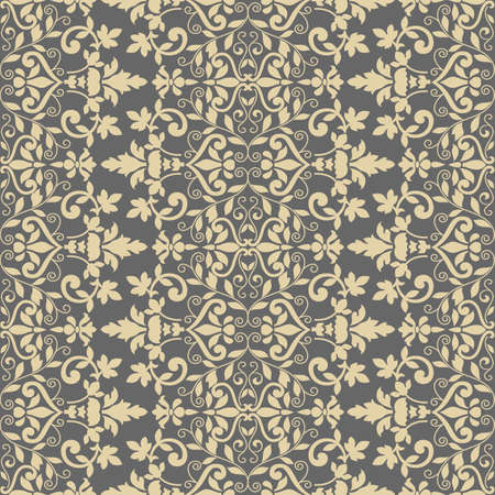 Damask double vertical border silhouette, seamless, victorian, greek