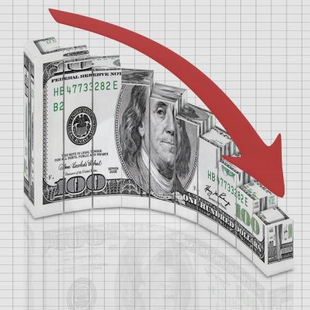 lost money: Dollar graph down round Stock Photo