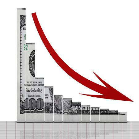 Dollar graph down concept