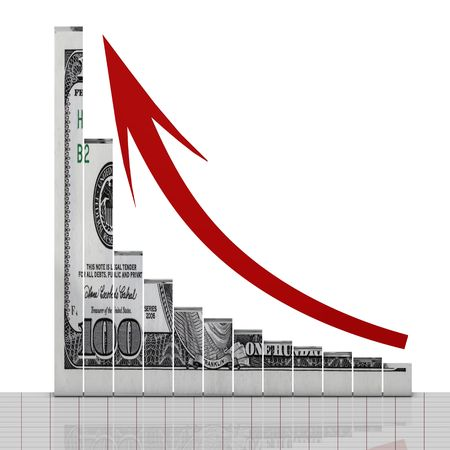 Dollar graph up concept photo