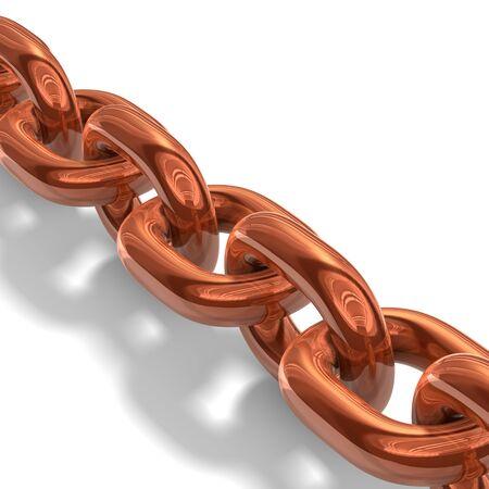 illustration of copper chain over white background Stock Illustration - 8997697