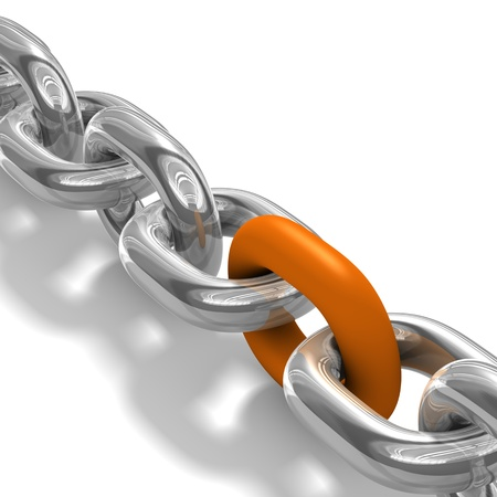 linked chain: illustration of steel chain over white background