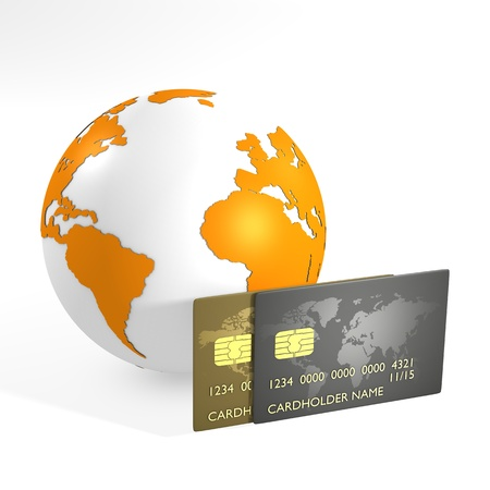 Orange earth and credit cards - computer render photo