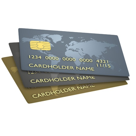 Credit cards on white background Stock Photo - 9191391