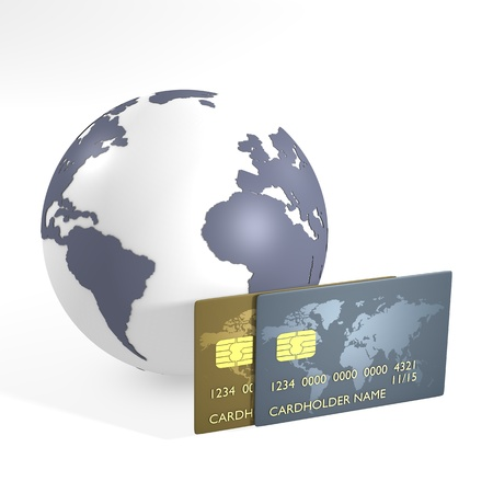 financial globe: Blue earth and credit cards - computer render Stock Photo