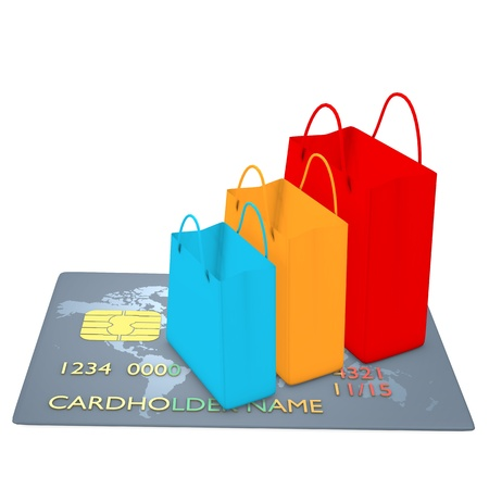gift spending: Shopping bags on credit card - colored Stock Photo