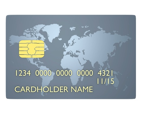 Credit card with blue  map world Stock Photo - 9191390