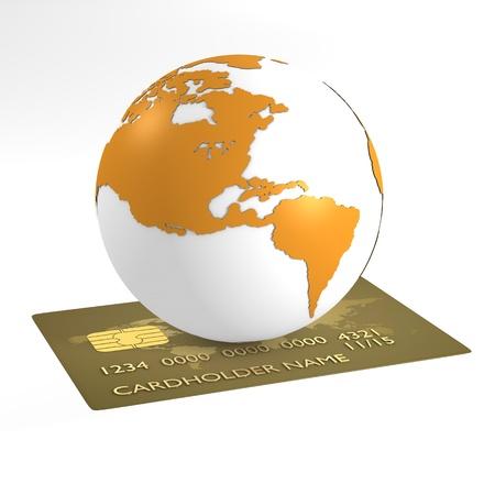 Orange earth over credit card - computer render photo