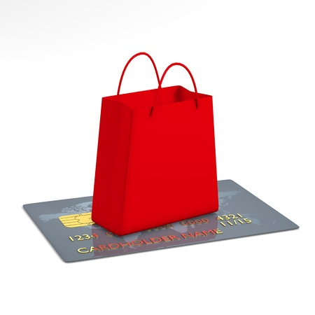 Red shopping bag on credit card - computer render