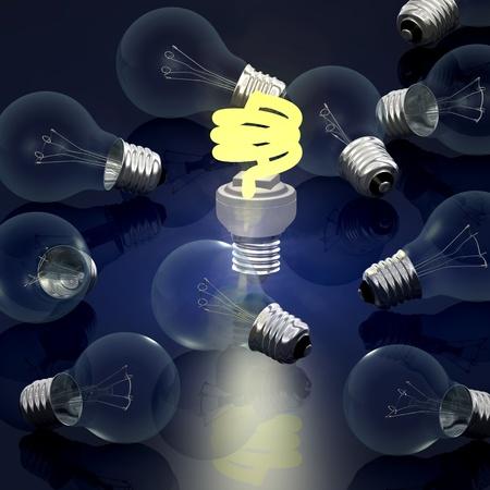 Economic light bulb - computer render
