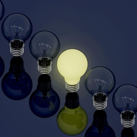 Light bulb  in line - computer render