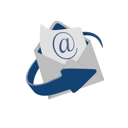 buzon de correos: Sobre de correo con la flecha azul Foto de archivo