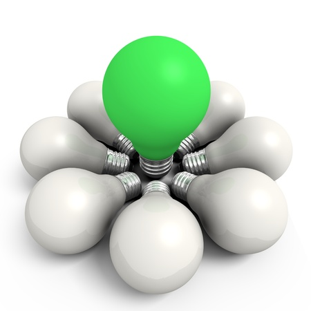 Green bulb in a white group - computer render Stock Photo