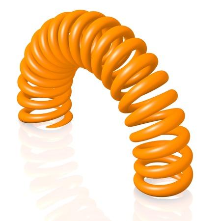 Flexible orange spring, computer rendered