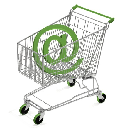 Shopping Cart with e-mail computer render photo