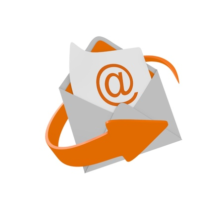 email contact: Envelope mail with orange arrow Stock Photo
