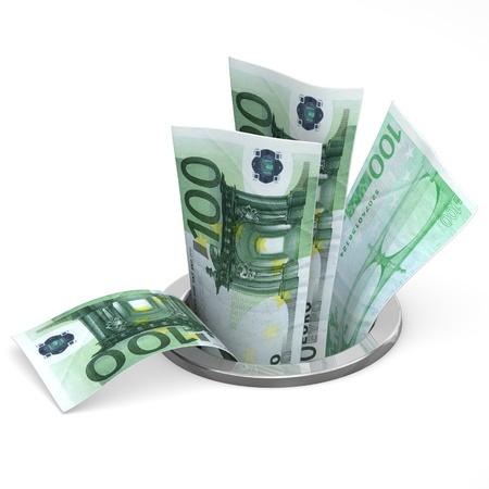 depreciation: Euro to drain - crisis concept