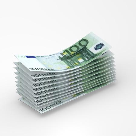 Cash flow - euro bills computer render