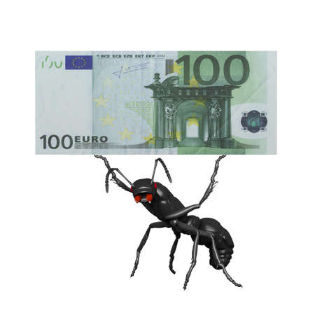 outflow: ant carrying a 100 euro bill computer render