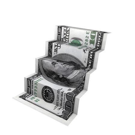 달러: 달러 계단 - 돈 개념 컴퓨터 렌더링